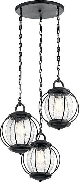 Vandalia Outdoor Pendant 3 Light in Textured Black
