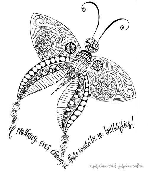 Butterfly Truth Adult Coloring Page