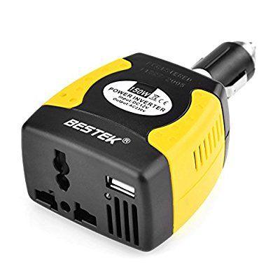 BESTEK 2 in 1 Spannungswandler 12V auf 230V 150W Auto Wechselrichter mit USB Ladegerät KFZ Zigarettenanzünden für Notebook,iPad,Smartphone,iPod,Tablet PC usw.