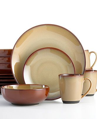Sango Dinnerware, Nova Brown 16 Piece Set - Casual Dinnerware - Dining & Entertaining - Macy's Bridal and Wedding Registry