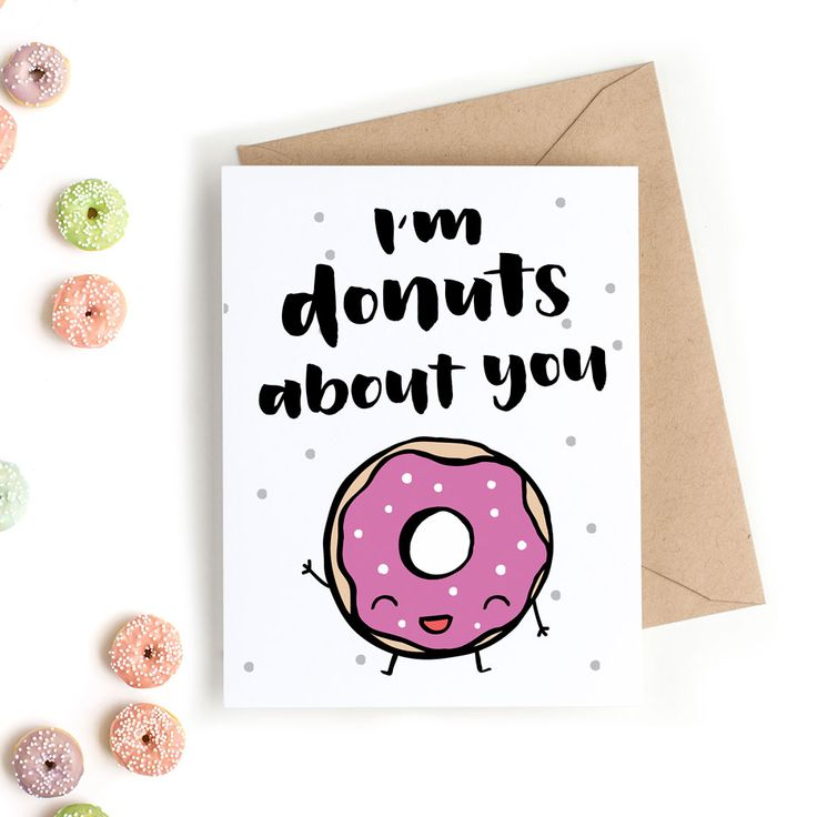 Surprise your valentine with this cute Valentine's Day card that says, I'm donuts about you. The hand-drawn art makes this card unique and special.