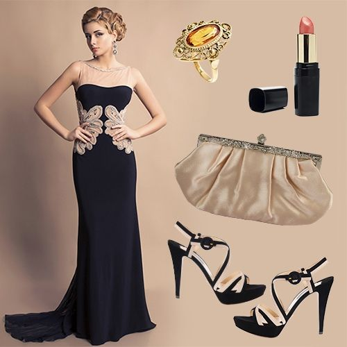 Floor-length Black Gala Gown with Accessories