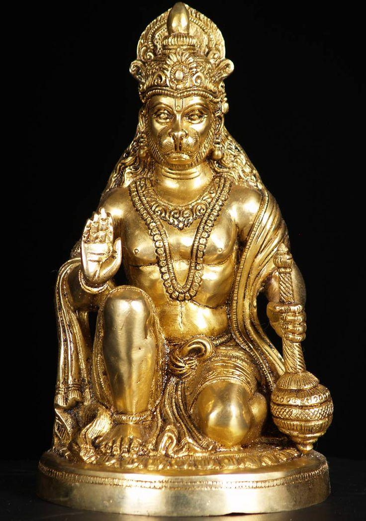 View the Brass Kneeling Hanumanji Statue 10