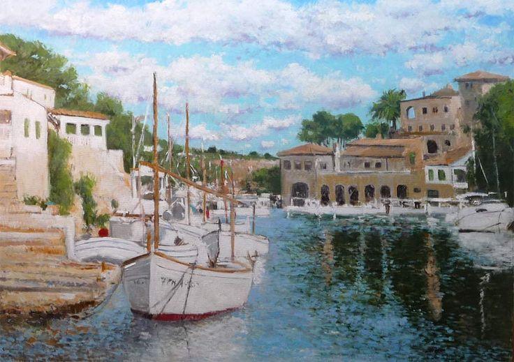 Cuadro al oleo de un paisaje impresionista de Calo d'en busques en Cala Figuera donde algunos barcos se reflejan en el agua.