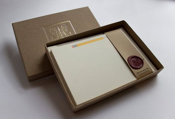 Letterpress Pencil Correspondence Cards by MeticulousInk on Etsy