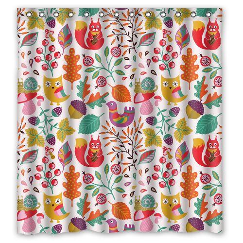 Encontrar Más Cortinas de Ducha Información acerca de Original baño de tela personalizado bosque colorido búho lindo Squirel y flor cortina de ducha 66 * 72 ( 13 agujeros ), alta calidad Cortinas de Ducha de Custom-DIY en Aliexpress.com