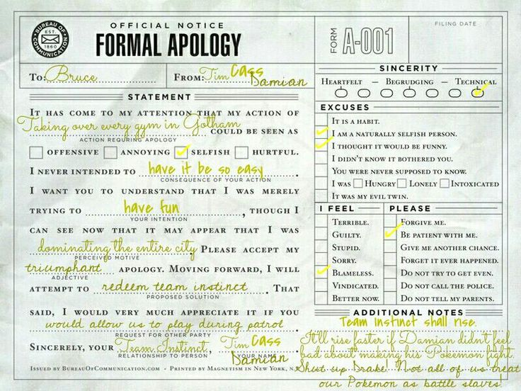 49 best Formal Apologies images on Pinterest Batman family - apology letter to family