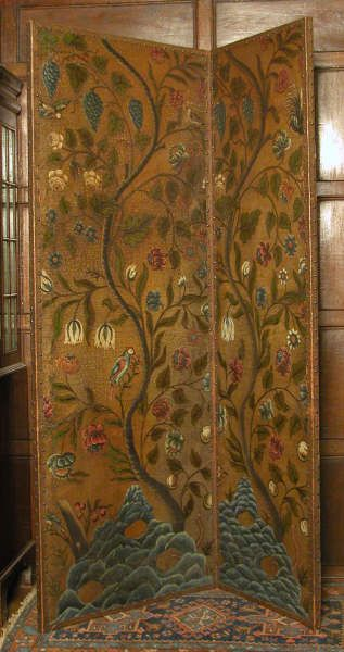 Leather screen decorated in imitation of Chinese wallpaper or Indian chintz, at Batemans, East Sussex. © National Trust Collections