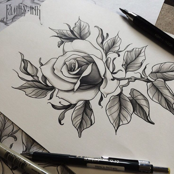 Rose tattoosketch by Family Ink.