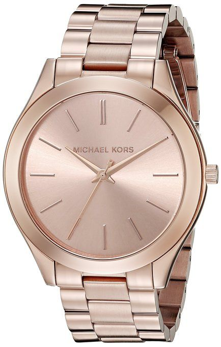 Michael Kors Slim Runway M.KORS-MK3197 42mm Stainless Steel Case Rose Gold Gold Plated Stainless Steel Mineral Women's Watch