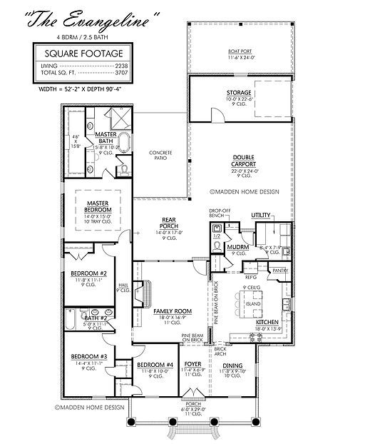Madden Home Design - The Evangeline, 2238 living area square footage, 3707 total square feet, Width 52'2