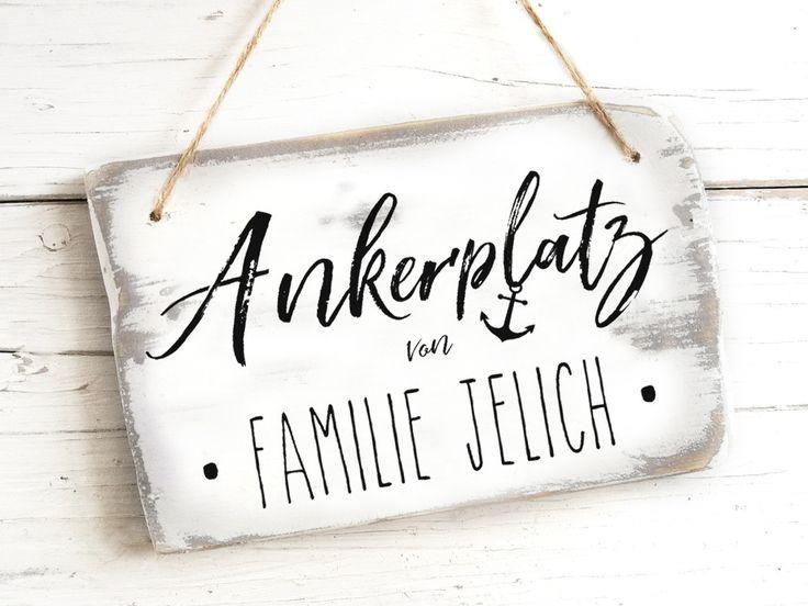 Individualisierbares maritimes Türschild Haustür Namensschild Holz Familie mar…