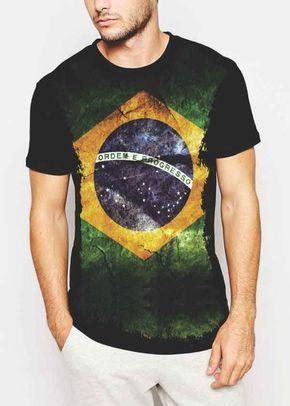 Camiseta - Estampa Bandeira Brasil S-06 Camisetas Divertidas 3af799579d0