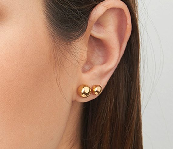 Gold earrings Stud earrings Gold dot earrings by HLcollection