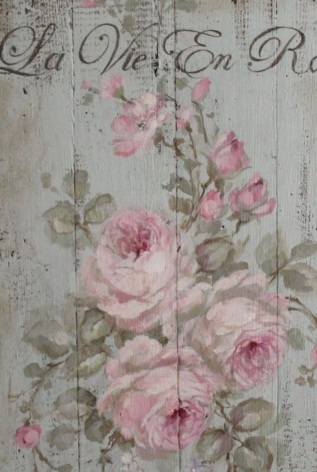 """Shabby French Chic """"La Vie En Rose"""" Painting on Wood by Debi Coules - Debi Coules Romantic Art"""