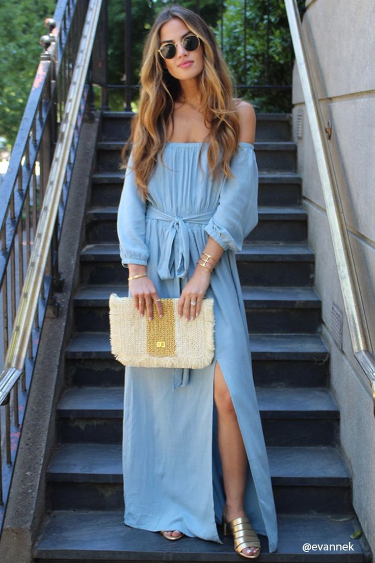 Forever 21 Contemporary - A woven maxi dress featuring an off-the-shoulder neckline, 3/4 sleeves, a smocked waist with an attached belt, and a center slit.