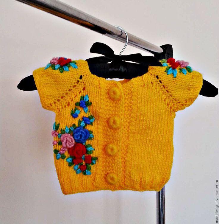 Knitted jacket with hand embroidery | Купить Детский жилет. Жилетка вязаная для девочки - желтый, ручная работа, жилет, детский жилет