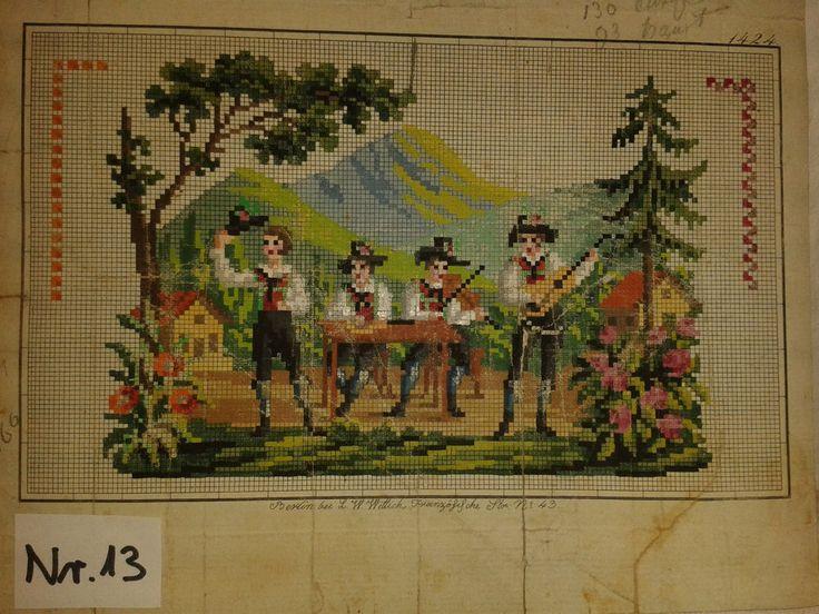 Biedermeier Stickmuster Stickvorlage von L.W.Wittich Berlin woolwork pattern