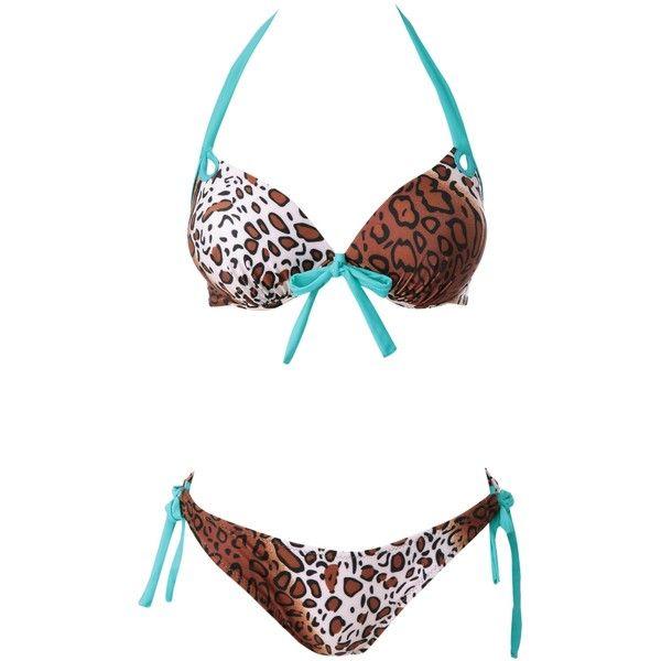 Leopard Pattern Self-Tie Bikini Set ($15) ❤ liked on Polyvore featuring swimwear, bikinis, bikini, leopard print bikini, leopard print bikini swimwear, bikini swimwear, leopard print swimwear and bikini swim wear