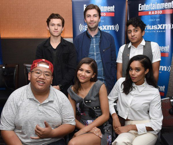 Zendaya with the cast of Spiderman Homecoming at SiriusXM's EW Radio Broadcast From Comic-Con 2016 7/23/16