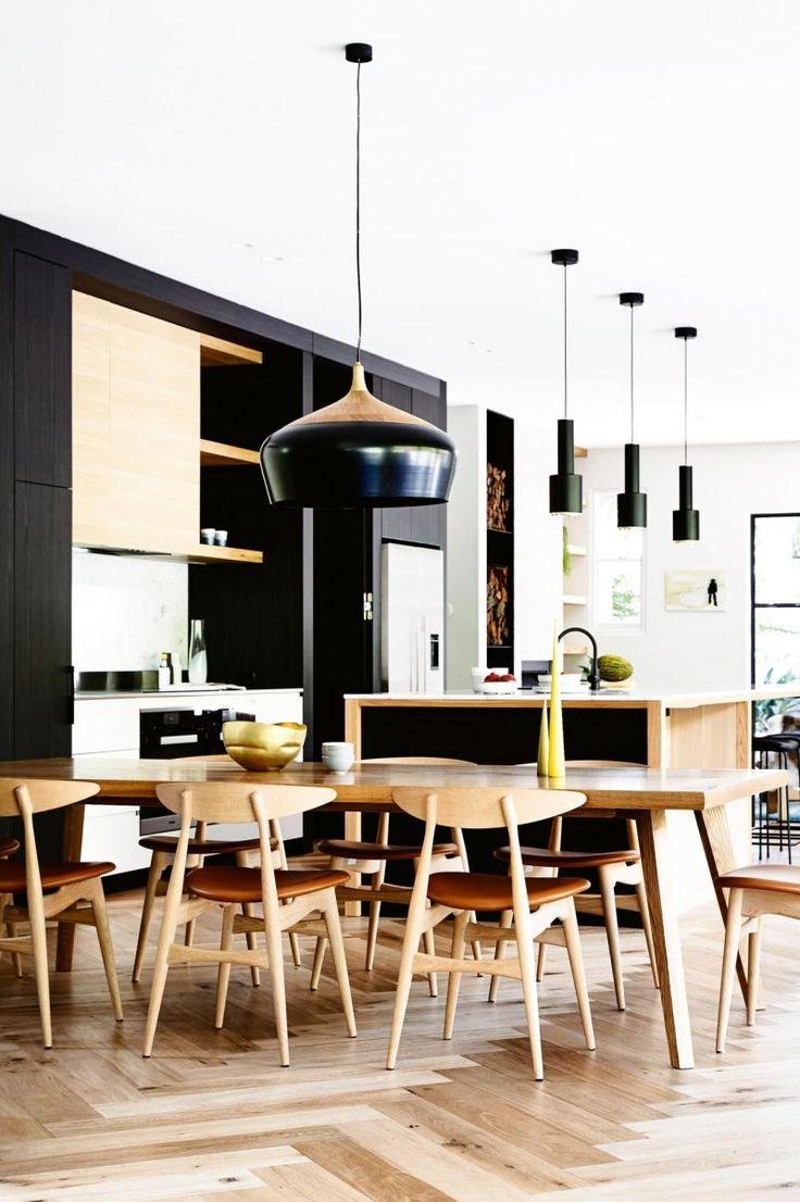 H-dining-timber-table-black-pendant-light