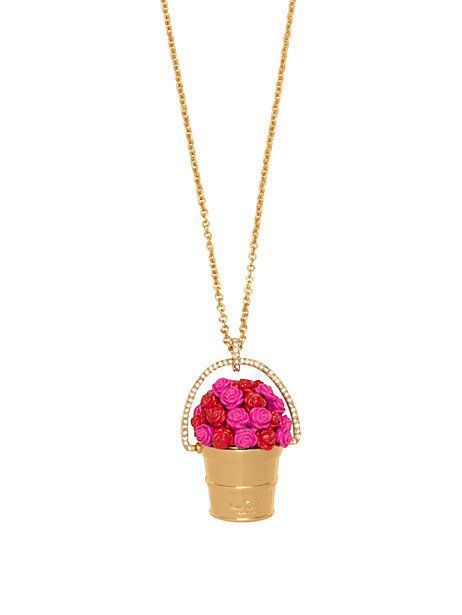 Look at this rosy outlook pendant from Kate Spade New York. A lovely bunch of roses in a bucket.