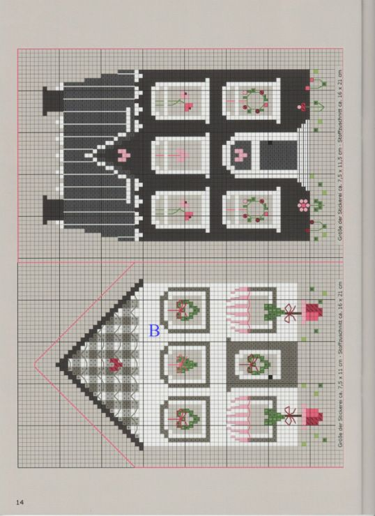 Black and white cross stitch house patterns, but may also be used for: crochet, knitting motifs, knotting, loom beading, Perler beading, weaving and tapestry design, pixel art, micro macrame, friendship bracelets, and anything involving the use of a cha