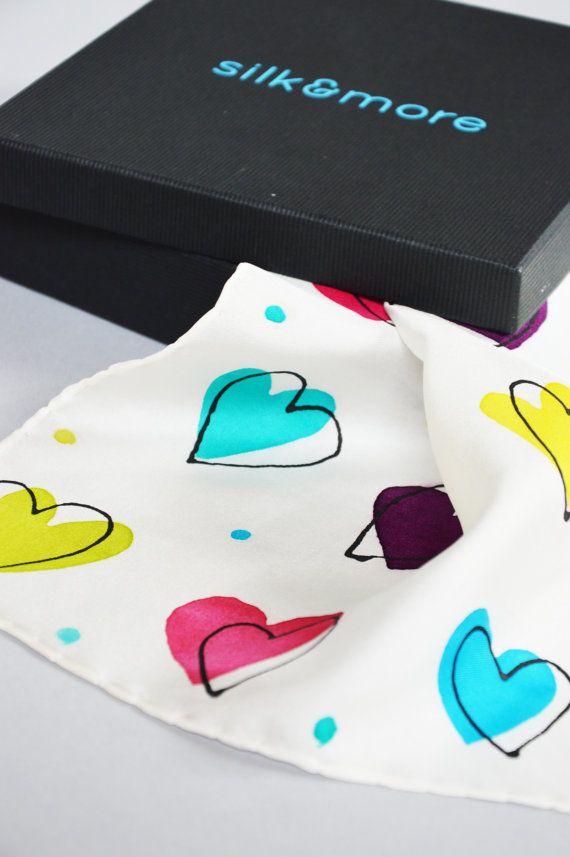 Boho Trendy Silk Pocket Square For Men Colorful by silkandmoreshop