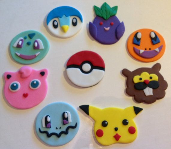 Fondant Pokemon Cupcake Toppers: set of 18 handmade cupcake toppers you chose up to 6 designs and get 3 of each. Toppers are made from fondant and are approx 2.25-3 each. They can be customized to fit your cupcake needs. Message me with any questions.