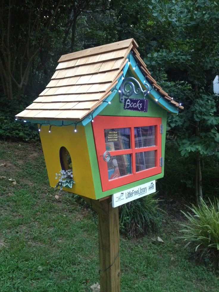 Noel and Kristin Mayeske. College Park, GA. Built by Kimy Kennedy and Russell Riediger. We now have SIX of these in your neighborhood (Historic College Park). We wanted to surprise the Mayeske's with a Dr. Suess type LFL --- Russell builds these and I register them. It's spreading magic ONE book at a time. You never know when someone will read a book and it will change their path, way of thinking or just add joy to their lives. WE LOVE OUR LITTLE FREE LIBRARIES! xxoooo