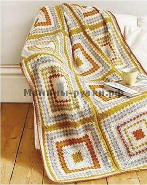 Вязаный крючком лоскутный плед Block Party (crochet patchwork blanket block party)