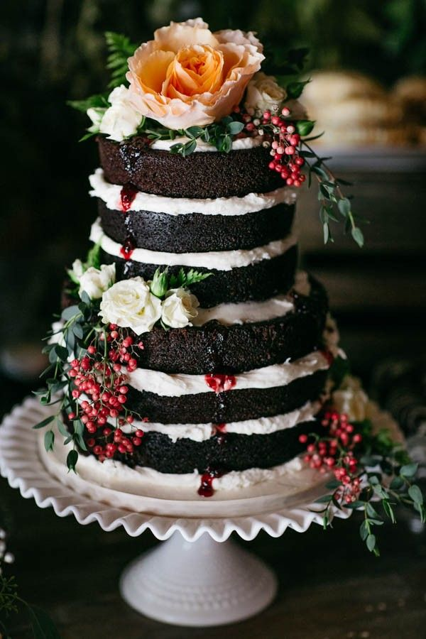 Naked Chocolate Wedding Cake with Fruit Drizzle