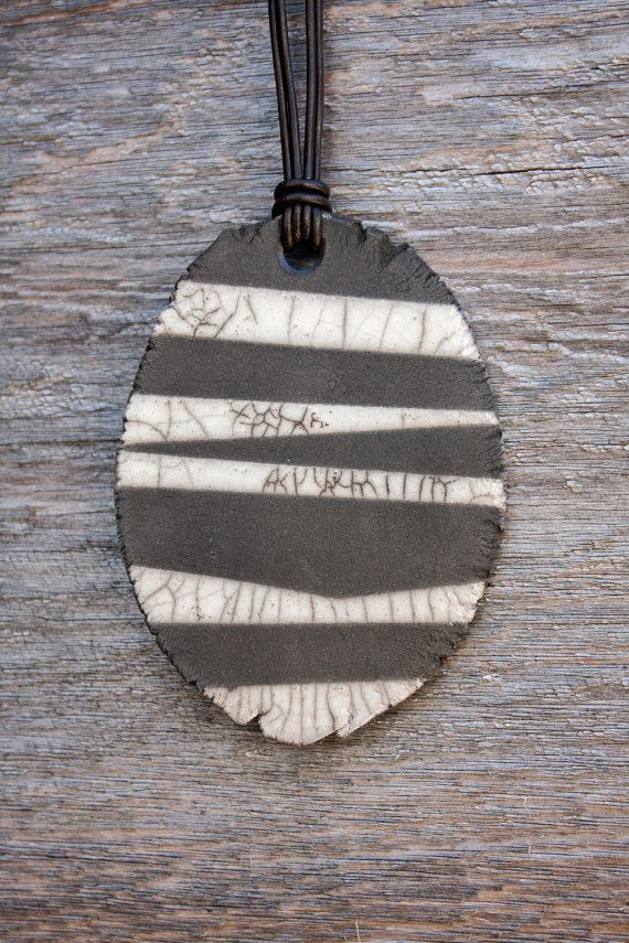 Raku Ceramic Necklace Lightweight Black and White Crackle Zebra Leather Adjustable Cord via Etsy