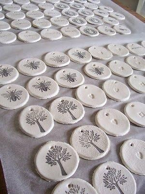 Gift tags. salt dough, stamped. 1 c salt, 2 c all-purpose flour, 1 c luke-warm water. Summer project for Christmas.               Use large  disc to become ornament (or necklace, keychain, backpack marker ect). Stamp in color, dry and seal with diy modpodge or nail polish.dse by Amy Arnold