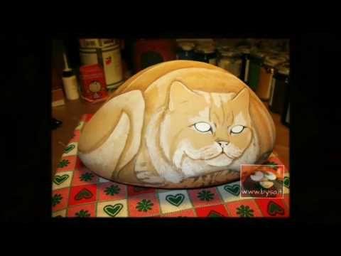 Ritratti di animali bysa: Video tutorial. Dipingere un sasso gatto persiano ...
