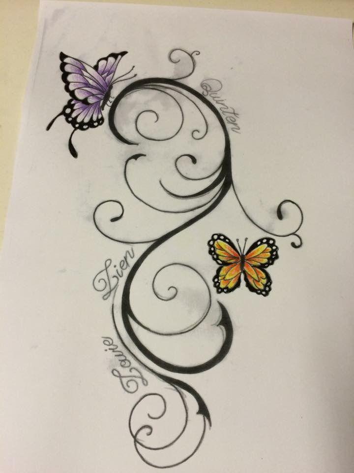 Mijn Tattoo met de 3 kids hun naam