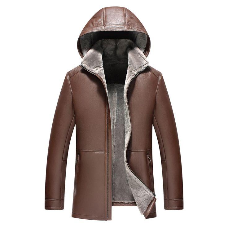 Men's Shearling Jacket Genuine Leather Mens Jacket Luxury Slim Hooded Coat Men Lambskin Fur Coat Long Outerwear