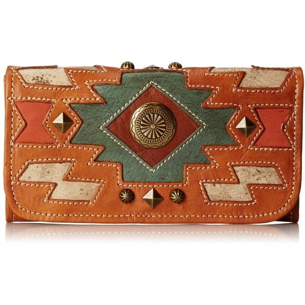 American West Zuni Passage Ladies Tri-Fold Wallet ($66) ❤ liked on Polyvore featuring bags, wallets, leather snap wallet, american west wallet, leather trifold wallet, leather wallets and brown leather wallet