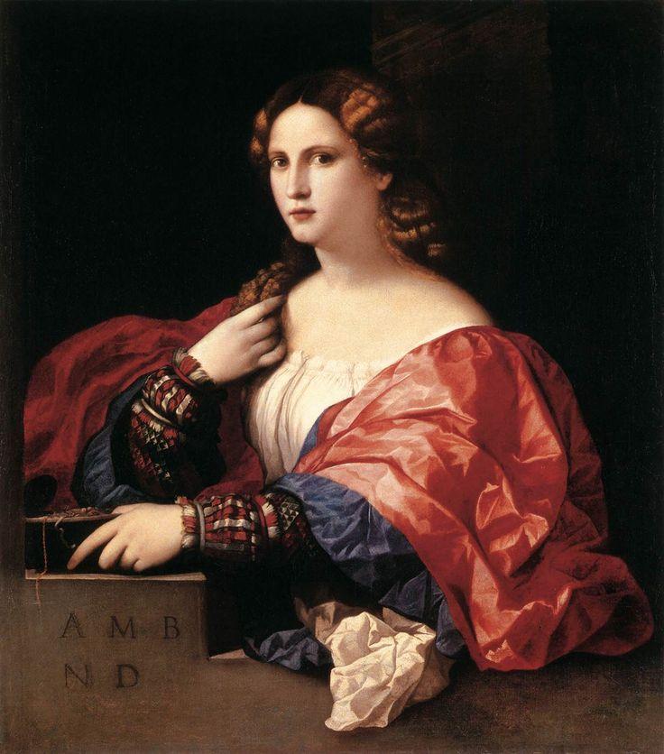 1518-20 LA BELLA, oil, by PALMA VECCHIO.   [ItalianHigh RenaissancePainter, ca.1480-1528]   Museo Thyssen-Bornemisza, Madrid