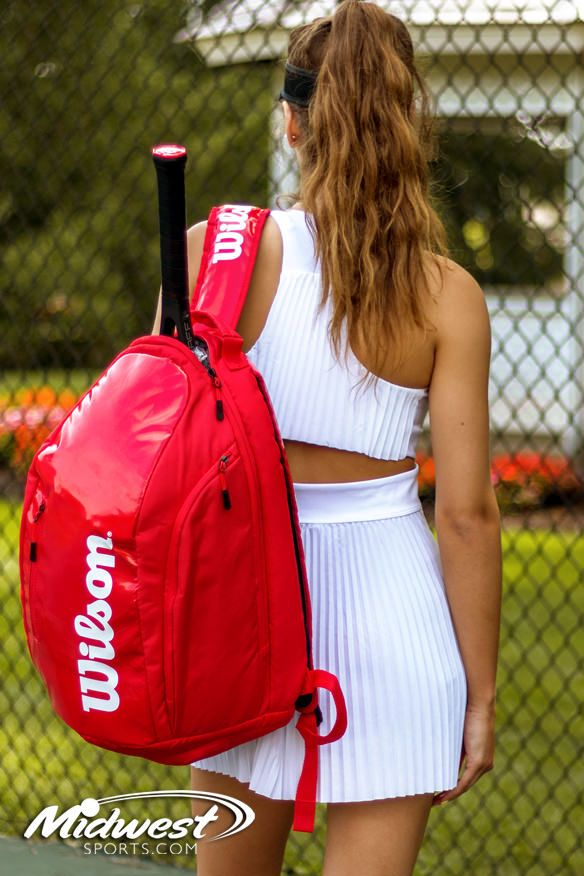f1076305cd Hit the court in style with the new 2018 Wilson Super Tour Tennis Backpack.  The bag itself can hold up to 2 uncovered racquets. The Super Tour backpack  ...