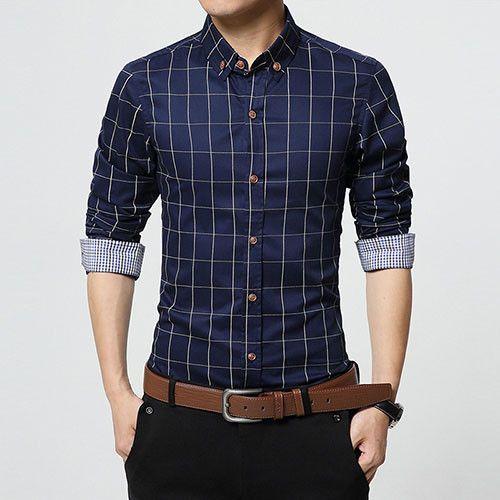 New Autumn Fashion Men Clothes Slim Fit Men Long Sleeve Shirt Men Plaid Cotton Casual Men Shirt Social