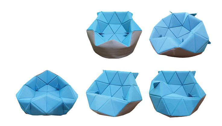 Antoinette Bader - Marie chair: A beanbag chair with a triangular structure that can assume a range of different positions