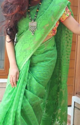 Green Jamdani Cotton Saree
