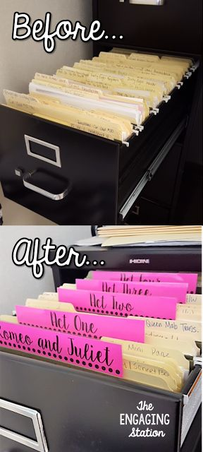Check out this super easy way to organize a filing cabinet! - The Engaging Station