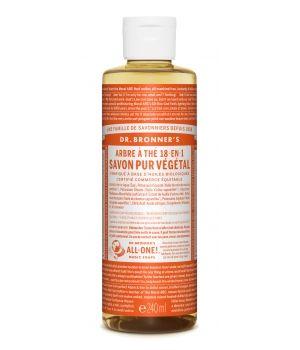 Savon liquide a l Arbre a the Dr Bronners 240 mlUn savon pur et naturel aux arômes d'huiles essentielles biologiques. L'huile d'arbre à thé est un antiseptique naturel, qui aide à soigner plaies et contusions, mais aussi à traiter l'acné et le psoriasis. Une soin pour une nettoyage sans chimie en profondeur de la peau