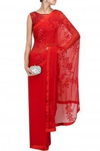 Red tone on tone embroidered sari with net blouse