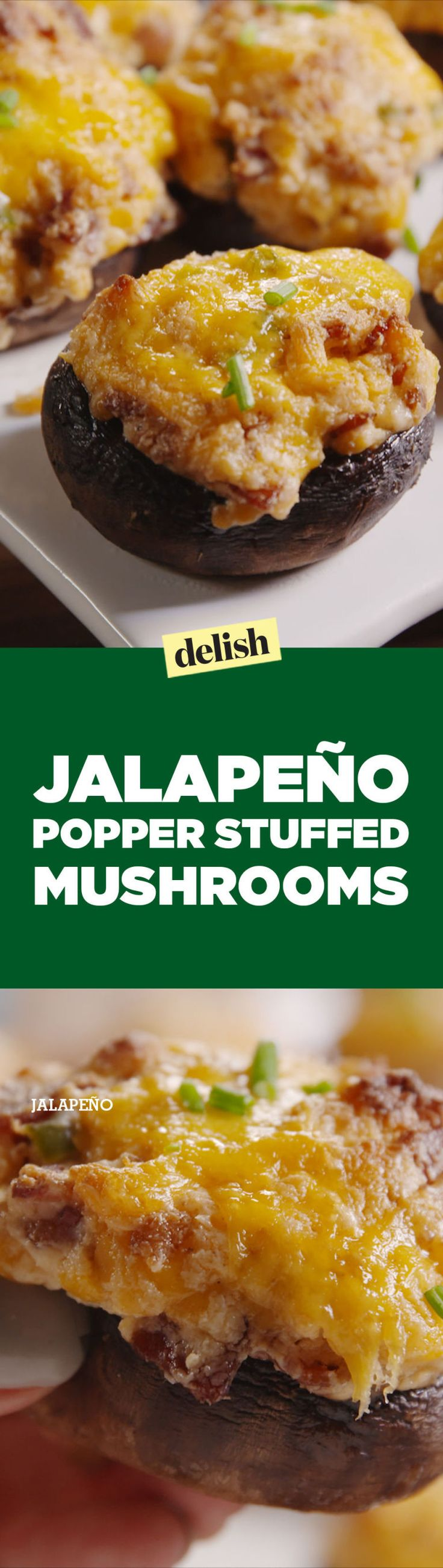 Jalapeño Popper Stuffed Mushrooms  - Delish.com