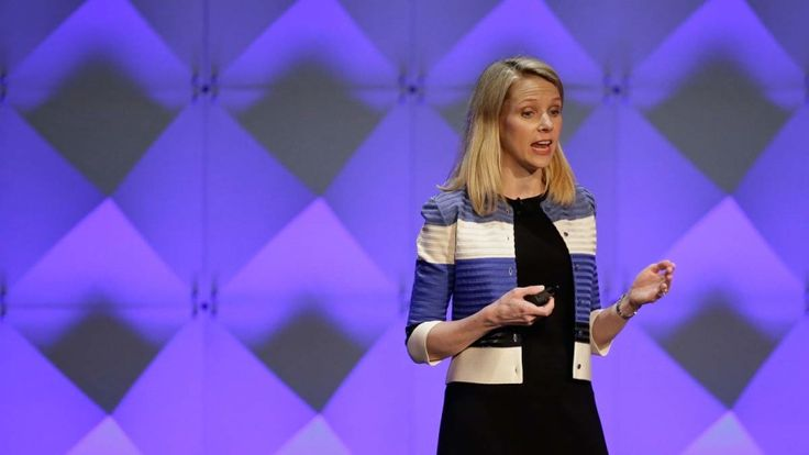 Yahoo CEO Marissa Mayer delivers the keynote address Thursday, Feb. 18, 2016, at the Yahoo Mobile Developer Conference in San Francisco