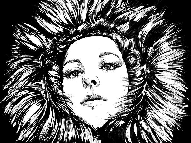 FURRYtale Ink Art  Yury Fadeev@  #арт #рисунок #иллюстрация #графика #портрет #yuryfadeev #art #illustration #portrait #bw #graphics #ink #deep #magic #sight #deepeyes #fur #fashion #fashionillustration #beauty #model #lady #emotional #look #outfit #fairytale #unicorn