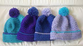 Mrs U Makes...: Pom Pom Winter Hat. Free crochet pattern.  @MrsUMakes #mymrsumakes